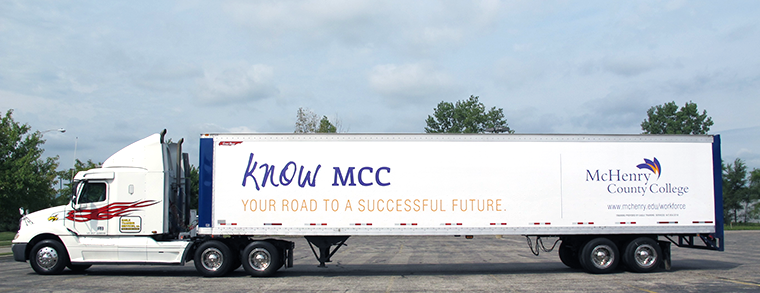 photo of CDL Semi Tractor Trailer with MCC logo